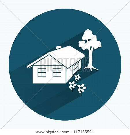House icon. Building household comfort real estate complete symbol. Construction, tree and flowers.