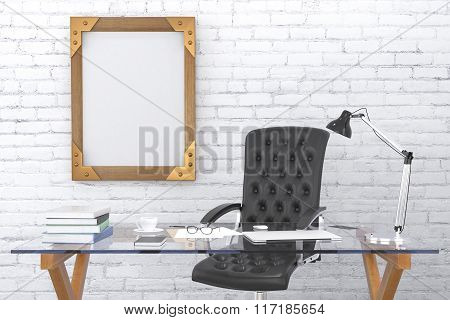 Steampunk Blank Wooden Picture Frame On Brick Wall With Black Leather Chair And Glassy Table, Mock U