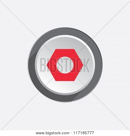 Bolt nut icon. Screw symbol. Red sign on round three-dimensional white-gray button. Vector