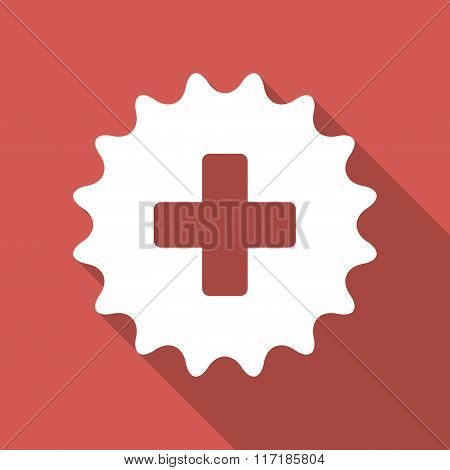 Plus Stamp Flat Square Icon with Long Shadow