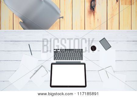 Blank Laptop Screen With Smartphone, Cup Of Coffee And Blank Papers On Wooden Table, Mock Up