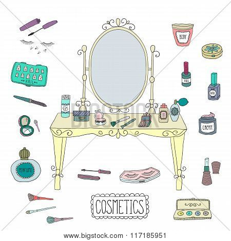 Vanity table with mirror and makeup.