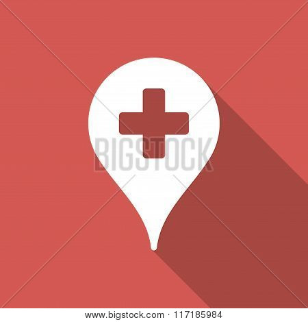 Clinic Map Pointer Flat Square Icon with Long Shadow