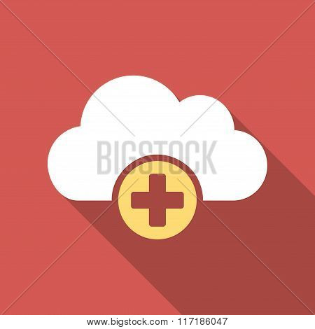 Cloud Medicine Flat Square Icon with Long Shadow
