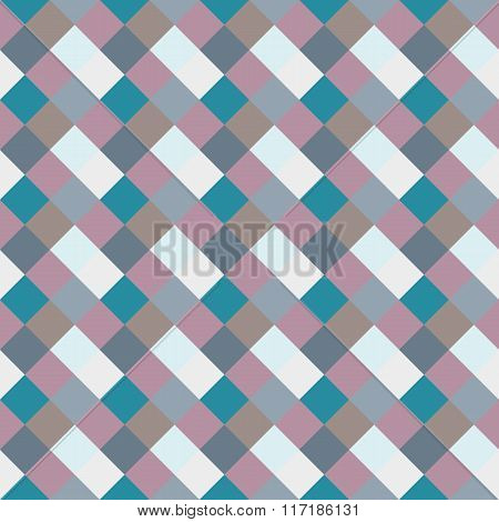 Seamless geometric checked pattern. Diagonal square, braiding, woven line background. Rhombus, patch