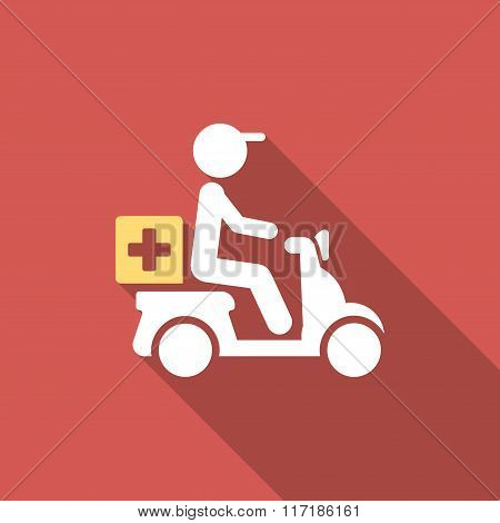 Drugs Motorbike Delivery Flat Square Icon with Long Shadow