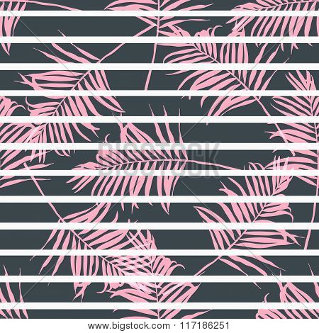 Contemporary geometric fashion print with palm leaves and stripes in vector .Abstract patt