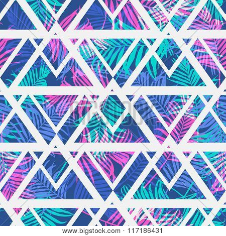 Tropical palm leaf pattern with geometric background