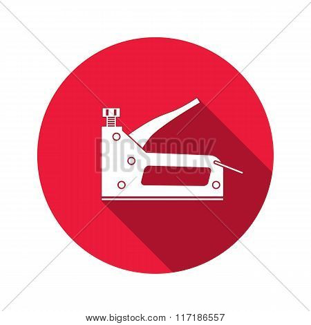 Stapler, staple gun icon. Repair, fix, building, connection, clip tool symbol. Round circle flat ico