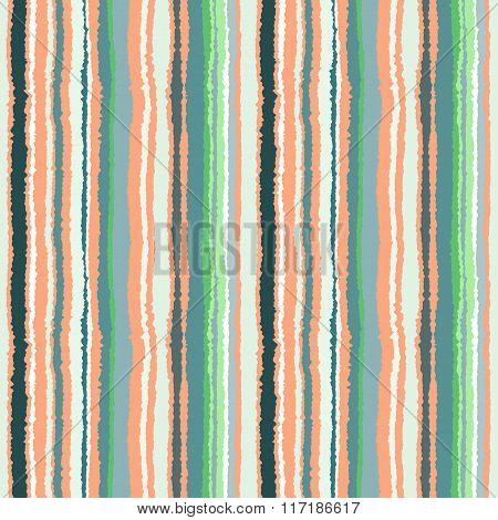 Seamless striped pattern. Vertical narrow lines. Torn paper, shred edge texture. Soft cold green, gr