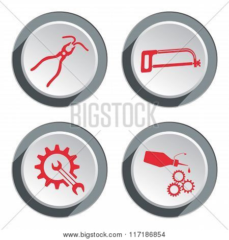 Tools icons set. Saw, tongs, cogwheel, wrench key, glue with drop. Repair fix symbol. Red sign on ro