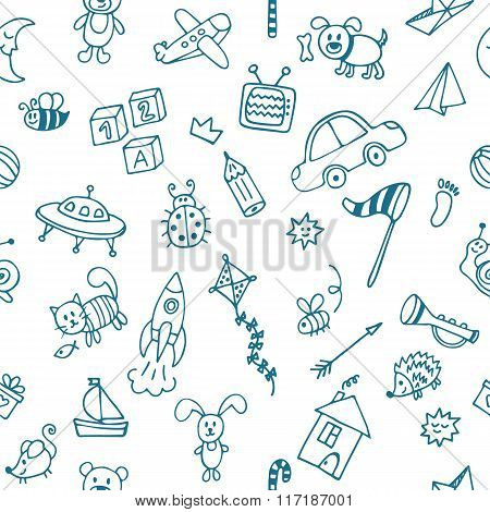 Background For Little Boys. Hand Drawn Children Drawings Color Seamless Pattern. Doodle Children Dra