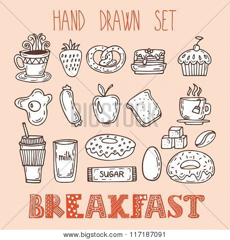 Collection Of Various Sketches Food And Doodles Elements. Hand Drawn Breakfast Set