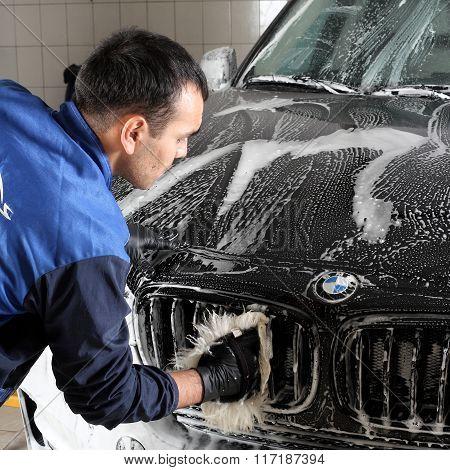 Car Service. Washing Of The Car Big Sponge