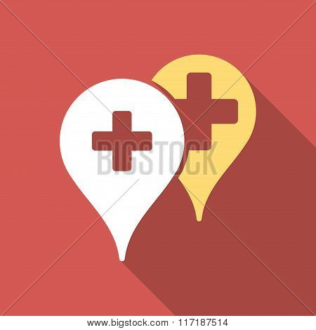 Medical Map Markers Flat Square Icon with Long Shadow