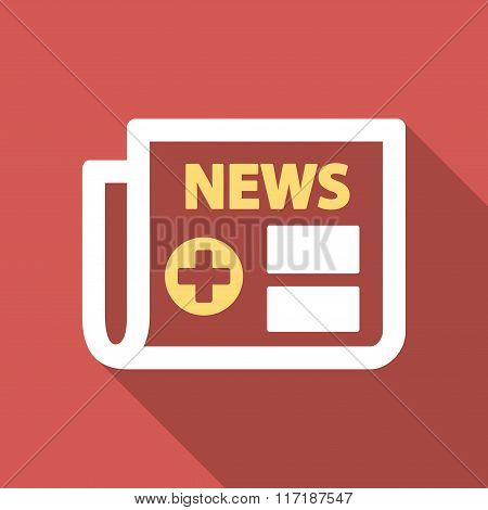 Medical Newspaper Flat Square Icon with Long Shadow