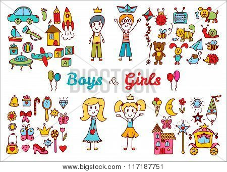 Hand Drawn Baby Boy And Girl Toys Set. Doodle Children Drawing. Elements From A Child's Life