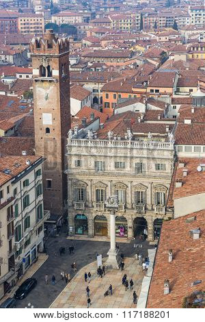 Aerial View Of Piazza Delle Erbe