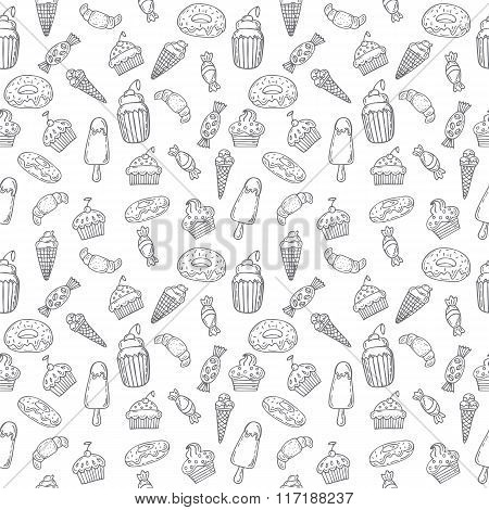 Hand Drawn Seamless Pattern With Sweets, Cupcakes, Bakery And Desserts. Sweet Desserts Background