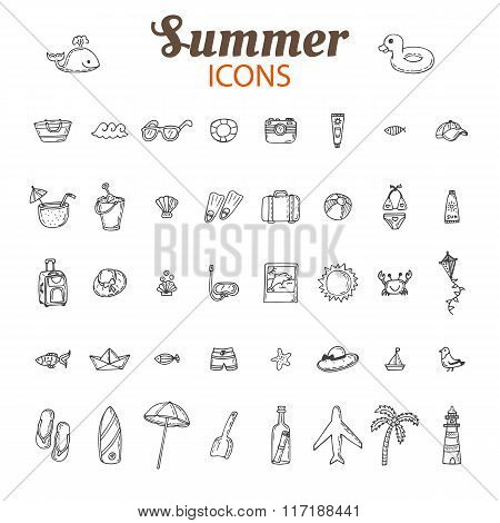Hand Drawn Summer Vector Icon Set. Beach Icons Collection. Vacation