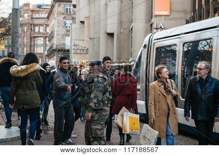 Miliatry Patrol In Strasbourg, France