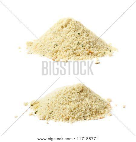 Pile of potato powder isolated