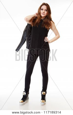 People Concept - Teenage Girl In Casual Clothes
