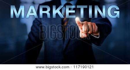 Marketeer Pointing At Marketing Onscreen