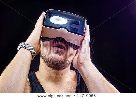 Man Uses Virtual Reality Vr Head-mounted Display