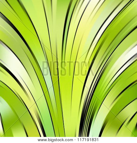 Vector Illustration Of Green Abstract Background With Blurred Light Curved Lines. Vector Geometric I