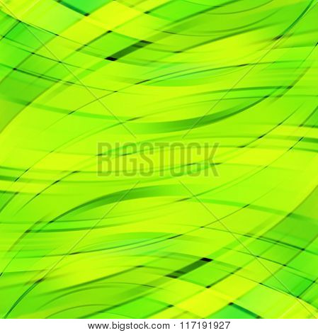 Vector Illustration Of Green, Yellow Abstract Background With Blurred Light Curved Lines. Vector Geo