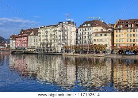 Reuss River And The St. Karliquai Quay In Lucerne