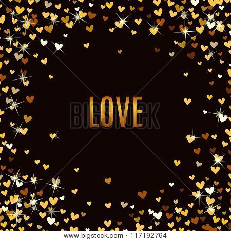 Romantic golden heart background. Vector illustration