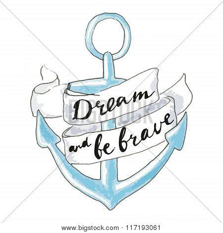 Blue Hand Drawn Anchor. Sea Symbol - Anchor.