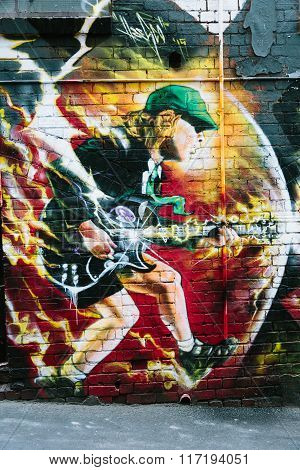 Mural Of Angus Young In Ac/dc Lane, Melbourne