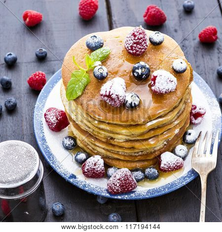 Pancakes With Honey And Berries