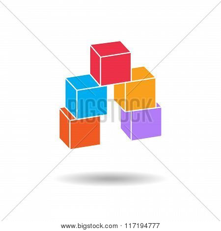 Cube composition icon. Perspective view. Pyramid of five blocks. Association, union, join, building,