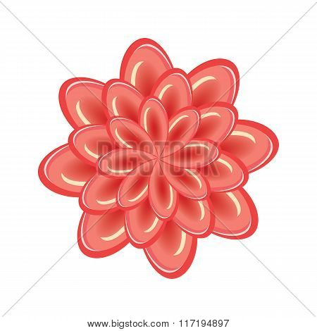 Flower icon. Unusual glass view chrysanthemum. Floral composition. Orange-red three-dimensional sign