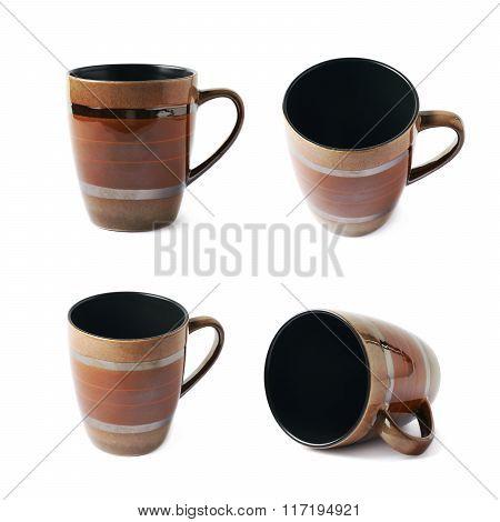 Empty brown ceramic mug isolated