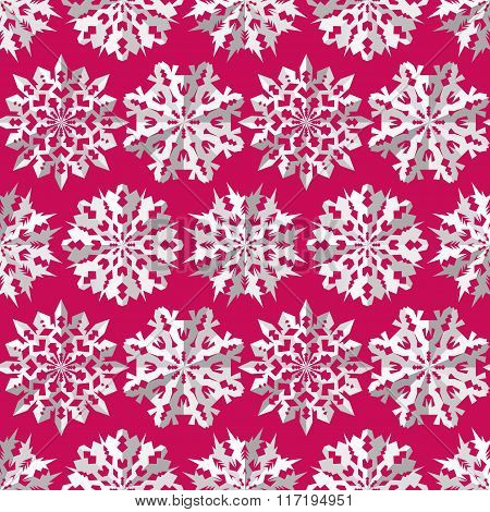 Seamless christmas pattern. Origami snowflakes signs. Paper white cut out silhouettes on magenta bac
