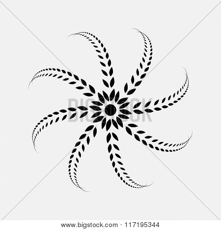 Laurel wreath tattoo. Black ornament, sign on white background.  Defence, peace, glory symbol. Vecto