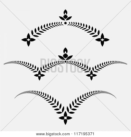 Laurel wreath tattoo set. Decorative ornament with wings and cross. Victory, peace, glory, summit sy