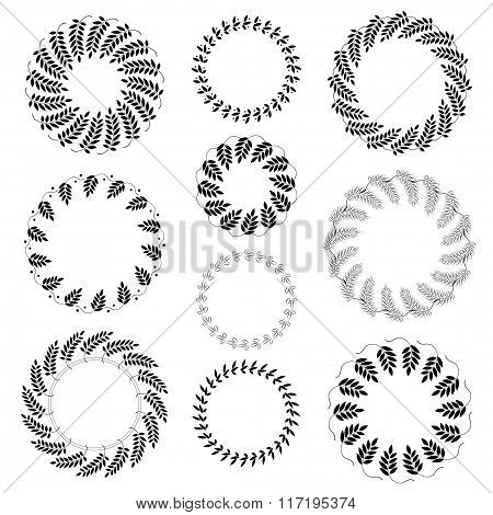 Laurel wreath tattoo set. Black ornaments ten signs on white background. Victory, peace, glory symbo