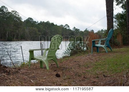 Picnic place in Spring forest