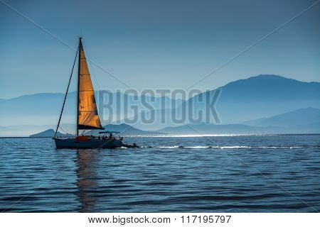 Sailing boat in a calm bay. Aegean Sea, Turkey