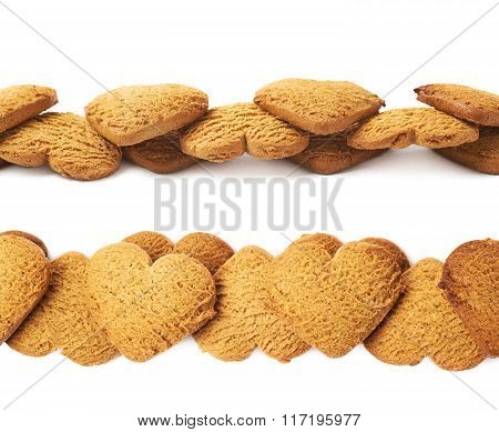Line made of heart shaped cookies