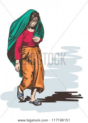 Sketch of walking woman covered in shawl, Hand drawn illustration