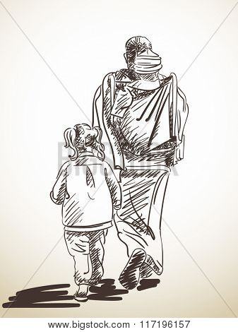 Sketch of walking woman with kids, Hand drawn illustration