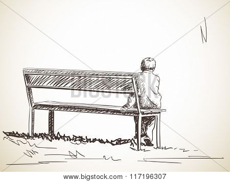 Lonely boy sitting on bench, Hand drawn sketch