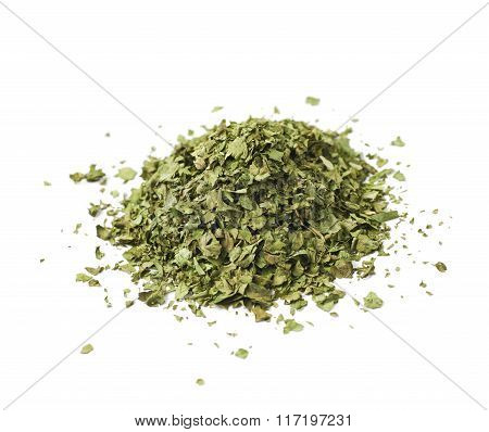 Pile of dried coriander isolated